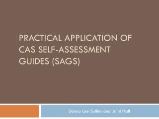 practical application of CAS Self-Assessment Guides (SAGS)