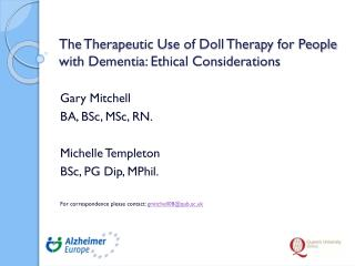 The  Therapeutic Use of Doll Therapy for People with Dementia: Ethical Considerations