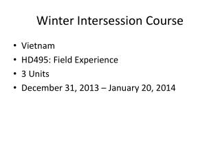 Winter Intersession Course