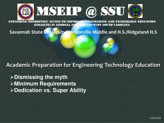 Academic Preparation for Engineering Technology Education