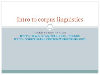 Intro to corpus linguistics