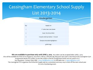 Cassingham Elementary School Supply List  2013-2014