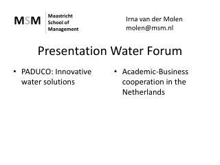 Presentation Water Forum