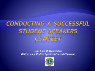 Conducting  a  successful Student  Speakers Contest