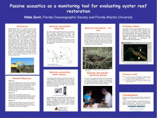 Passive acoustics as a monitoring tool for evaluating oyster reef restoration