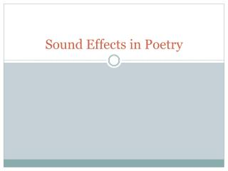 Sound Effects in Poetry