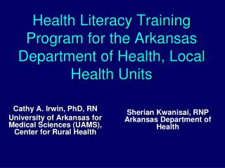Health Literacy Training Program for the Arkansas Department of Health, Local Health Units