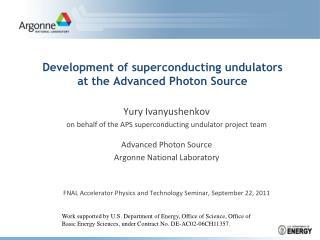 Development of superconducting undulators at the Advanced Photon Source