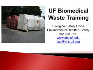 UF Biomedical  Waste Training