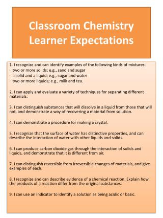 Classroom  Chemistry Learner Expectations