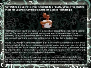 Gay Dating Solutions' Members Section Is a Private