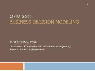 OPIM 5641 business decision modeling