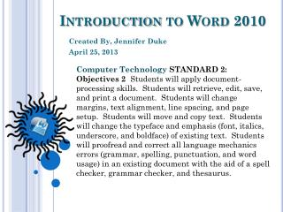 Introduction to Word 2010