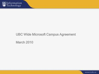 UBC Wide Microsoft Campus Agreement March 2010