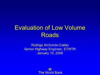 evaluation of low volume roads