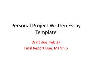Personal Project Written Essay Template