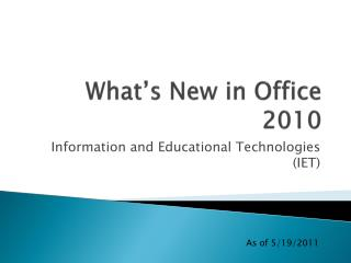 What�s New in Office 2010