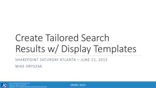 Create Tailored Search Results w/ Display Templates