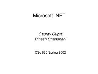 Microsoft  Gaurav Gupta Dinesh Chandnani