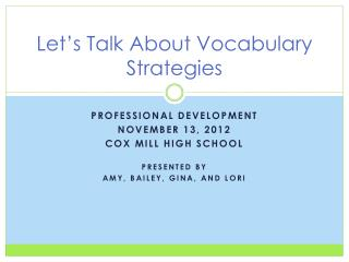 Let's Talk About Vocabulary Strategies