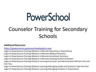 Counselor Training for Secondary Schools