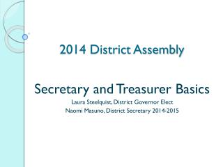 2014 District Assembly