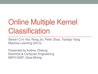 Online Multiple Kernel Classification