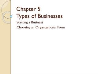 Chapter 5 Types of Businesses