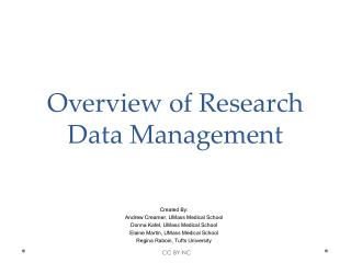 Overview of Research Data Management