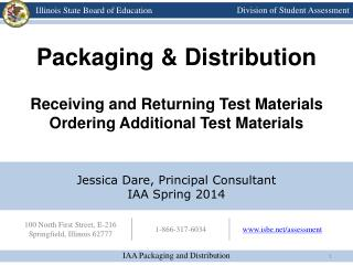 Packaging & Distribution Receiving and Returning Test Materials Ordering Additional Test Materials