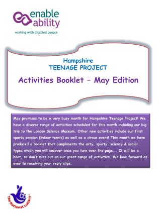 Hampshire  TEENAGE PROJECT Activities Booklet – May Edition