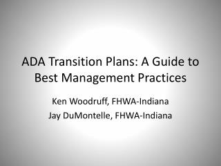 ADA Transition Plans: A Guide to Best Management Practices