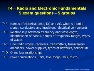t4   radio and electronic fundamentals 5 exam questions   5 groups