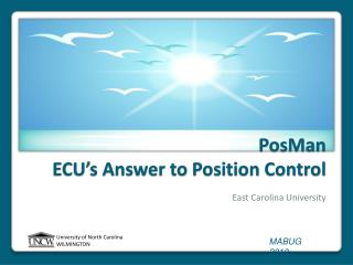 PosMan ECU's Answer to Position Control