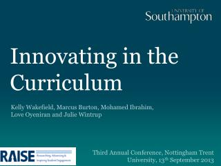 Innovating in the  Curriculum