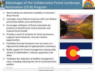 Advantages of  the  Collaborative Forest Landscape Restoration (CFLR) Program