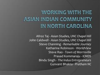 Working with the  Asian Indian Community  in North Carolina