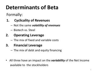 Determinants  of Beta Formally: Cyclicality  of  Revenues Not the same  volatility of revenues Biotech vs. Steel Operat