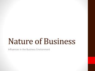 Nature of Business