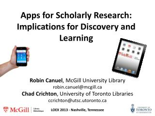 Apps for Scholarly Research: Implications for Discovery and Learning