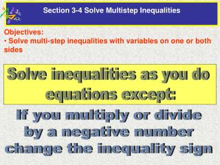 Section 3-4 Solve Multistep Inequalities