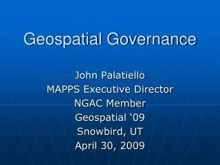 Geospatial Governance