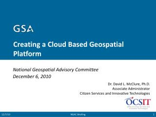 Creating a Cloud Based Geospatial Platform