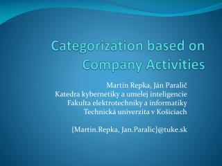 Categorization based on Company Activities