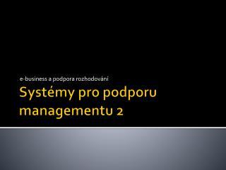 Systémy pro podporu managementu 2