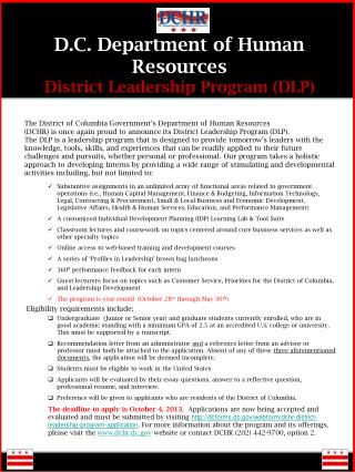 D.C. Department of Human Resources District Leadership Program (DLP)