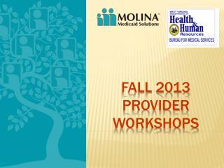 Fall 2013 Provider Workshops