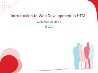 Introduction to Web Development in HTML