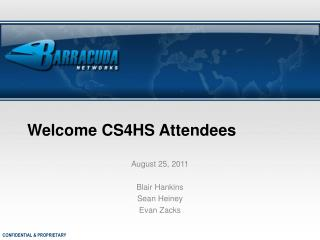 Welcome CS4HS Attendees