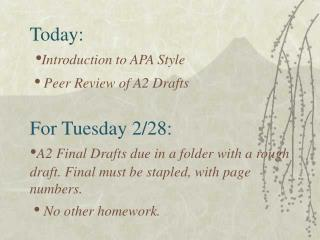 today:   introduction to apa style     peer review of a2 drafts  for tuesday 2